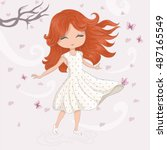 cute girl t shirt print... | Shutterstock .eps vector #487165549