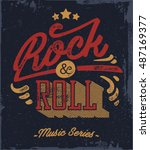 rock and roll. typography... | Shutterstock .eps vector #487169377