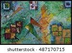 acrylic painting geometric... | Shutterstock . vector #487170715