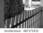 wooden fence  | Shutterstock . vector #487171921