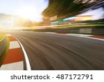 motion blurred racetrack sunset ... | Shutterstock . vector #487172791