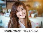 a portrait of a beautiful asian ... | Shutterstock . vector #487173661