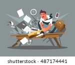 angry and exasperated employee | Shutterstock .eps vector #487174441