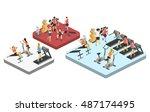 isometric interior of gym.... | Shutterstock .eps vector #487174495
