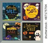 set of creative social media... | Shutterstock .eps vector #487175704