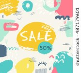 summer sale banner. hand drawn... | Shutterstock .eps vector #487179601