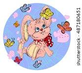 cute rabbit cartoon   Shutterstock .eps vector #487180651