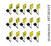 warning signs. set of vector... | Shutterstock .eps vector #487181419