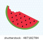 big watermelon slice cut with... | Shutterstock .eps vector #487182784