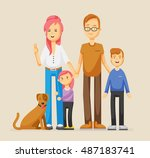 hipster family. happy mom  dad  ... | Shutterstock .eps vector #487183741