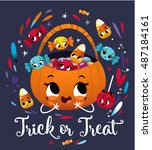 happy halloween trick or treat... | Shutterstock .eps vector #487184161