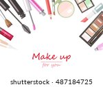 makeup beauty products flat... | Shutterstock .eps vector #487184725