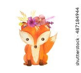 Stock photo cute cartoon watercolor forest animal hand painted lovely baby fox with floral wreath perfect for 487184944