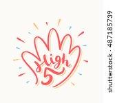 high five  congratulations. | Shutterstock .eps vector #487185739
