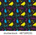 seamless hand drawn pattern in... | Shutterstock .eps vector #487189231
