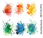 set of watercolor splash on... | Shutterstock .eps vector #487191991