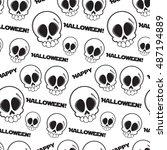 black and white seamless skulls ... | Shutterstock .eps vector #487194889
