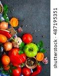 various fresh vegetables from...   Shutterstock . vector #487195351