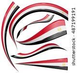 egypt flag set isolated on... | Shutterstock .eps vector #487199191