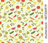 vector seamless pattern with... | Shutterstock .eps vector #487200979