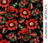 seamless pattern of decorative... | Shutterstock .eps vector #487201171