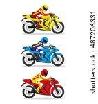 vector set. racing motorcycles. | Shutterstock .eps vector #487206331