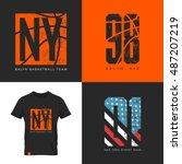 american flag and basketball... | Shutterstock .eps vector #487207219