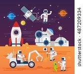 astronauts characters set in... | Shutterstock .eps vector #487209334