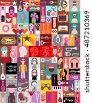 vector pop art collage of... | Shutterstock .eps vector #487210369