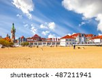 baltic beach with beautiful... | Shutterstock . vector #487211941