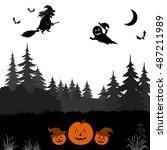 holiday halloween landscape ... | Shutterstock .eps vector #487211989