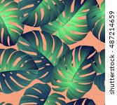 tropical pattern. jungle palm... | Shutterstock .eps vector #487214659