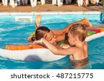 little children in swimming... | Shutterstock . vector #487215775