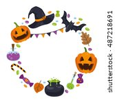vector wreath with icons for... | Shutterstock .eps vector #487218691