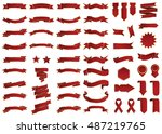 banner red vector icon set on... | Shutterstock .eps vector #487219765