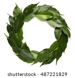 Green Leaves Wreath Frame On...