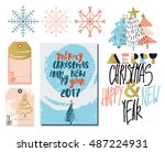 happy new year set of cards ... | Shutterstock .eps vector #487224931