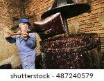 Farmers Making Wine Of Grape ...
