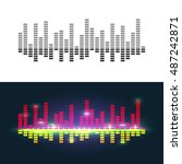 sound waves to visualize music  ... | Shutterstock .eps vector #487242871