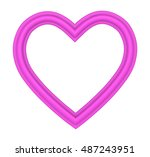 pink heart picture frame... | Shutterstock . vector #487243951