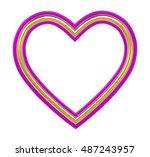 golden pink heart picture frame ... | Shutterstock . vector #487243957