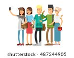 selfie shot of group of young... | Shutterstock .eps vector #487244905
