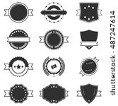 set of blank black and white... | Shutterstock .eps vector #487247614