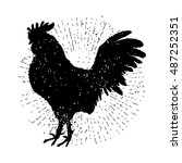 Rooster Label. Vintage Style...