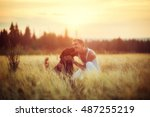 young man with his dog in field ... | Shutterstock . vector #487255219