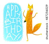 happy birthday card design with ... | Shutterstock .eps vector #487256029