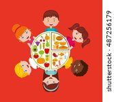 kids menu restaurant icon... | Shutterstock .eps vector #487256179