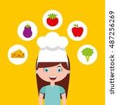 little chef kids menu vector... | Shutterstock .eps vector #487256269