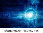 2d illustration fingerprint... | Shutterstock . vector #487257745
