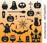 background with halloween black ... | Shutterstock .eps vector #487260967